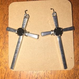 Silver cross earrings with black crystal